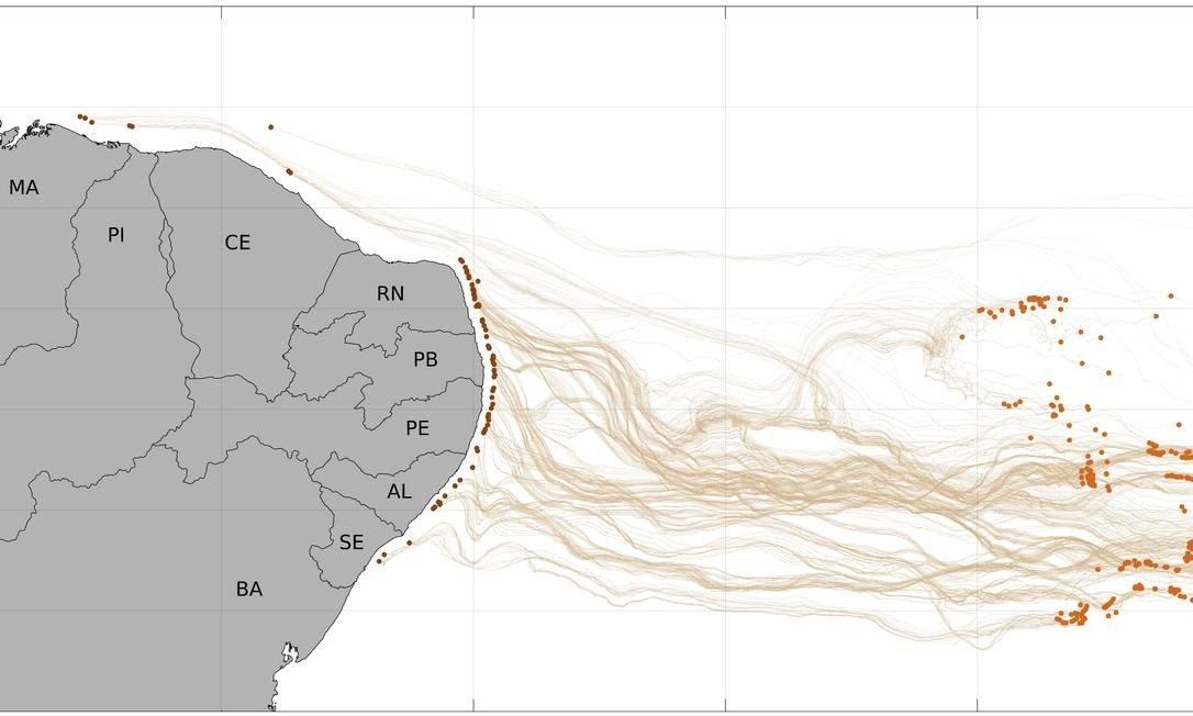 Lacuna de satélite trava investigação sobre óleo achado em mais de 200 pontos