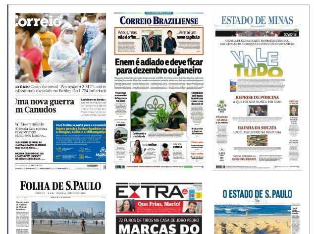 Capa dos jornais de hoje: Estado de Minas revive nomes de novela para retratar saída de Regina Duarte