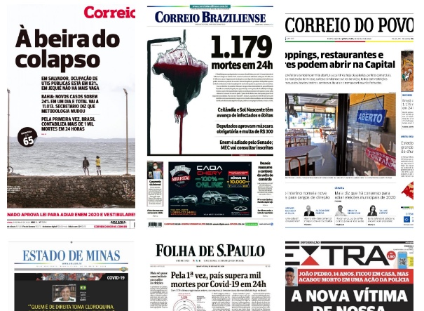 Capa dos jornais de hoje: Brasil entra para o grupo com mais de mil mortos por dia