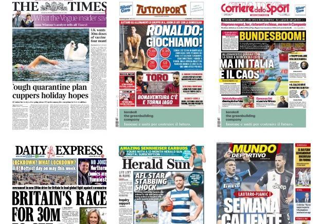 Capa dos jornais do mundo de hoje: a retomada gradual da rotina