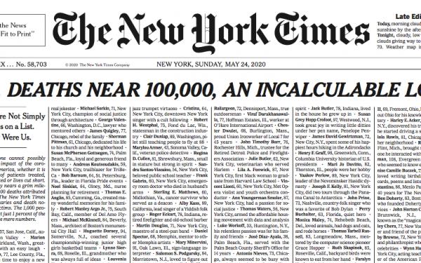 Capa histórica e inédita do New York Times: Estados Unidos chega a 100 mil mortos por Covid