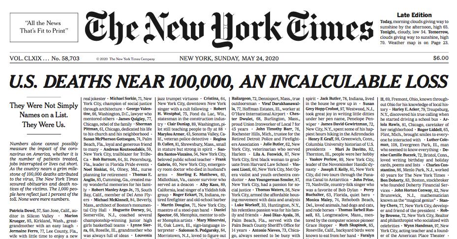 capa new york times, jornalismo, jornalista, da redação, daniel polcaro, capa histórica, coronavírus, estados unidos, lista de mortos,