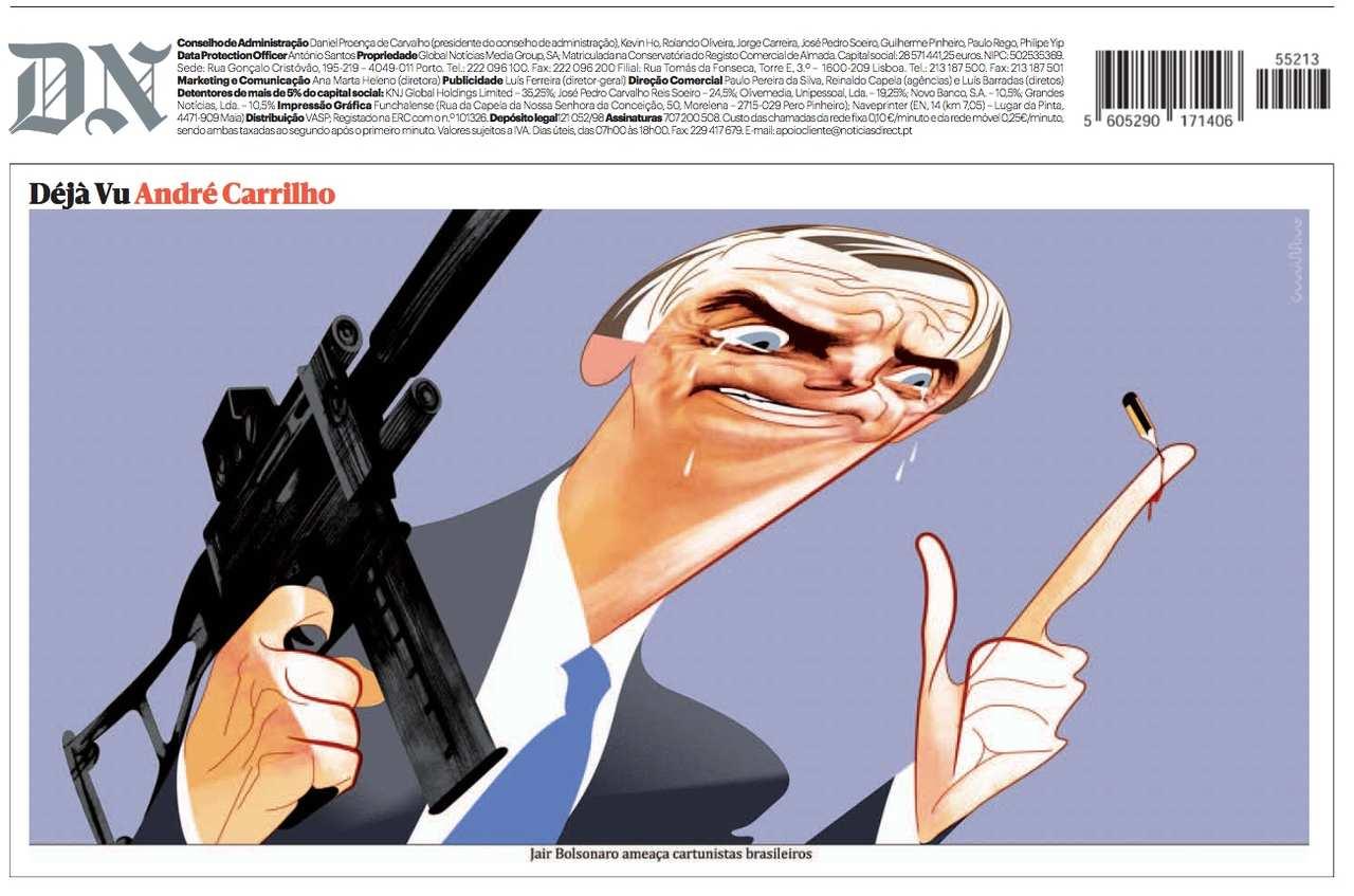 Bolsonaro aparece com metralhadora em charge de jornal português