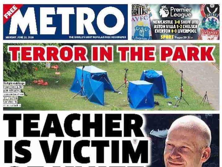 Capa dos jornais britânicos de amanhã: ataque terrorista mata 3