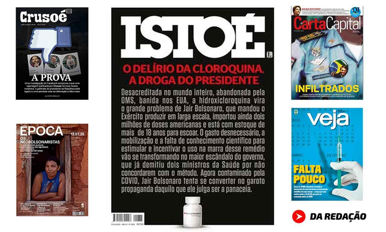 Capa das revistas semanais: cerco virtual contra a família Bolsonaro