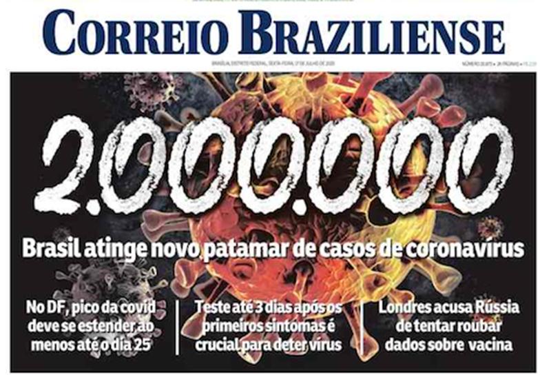 Capa dos jornais de hoje: 2 milhões de contaminados