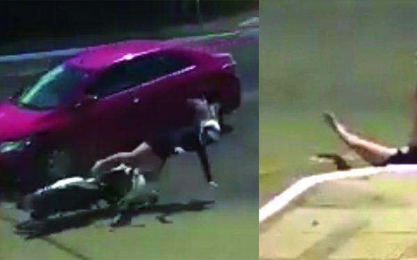 Motociclista atingida por veículo cai dentro de bueiro