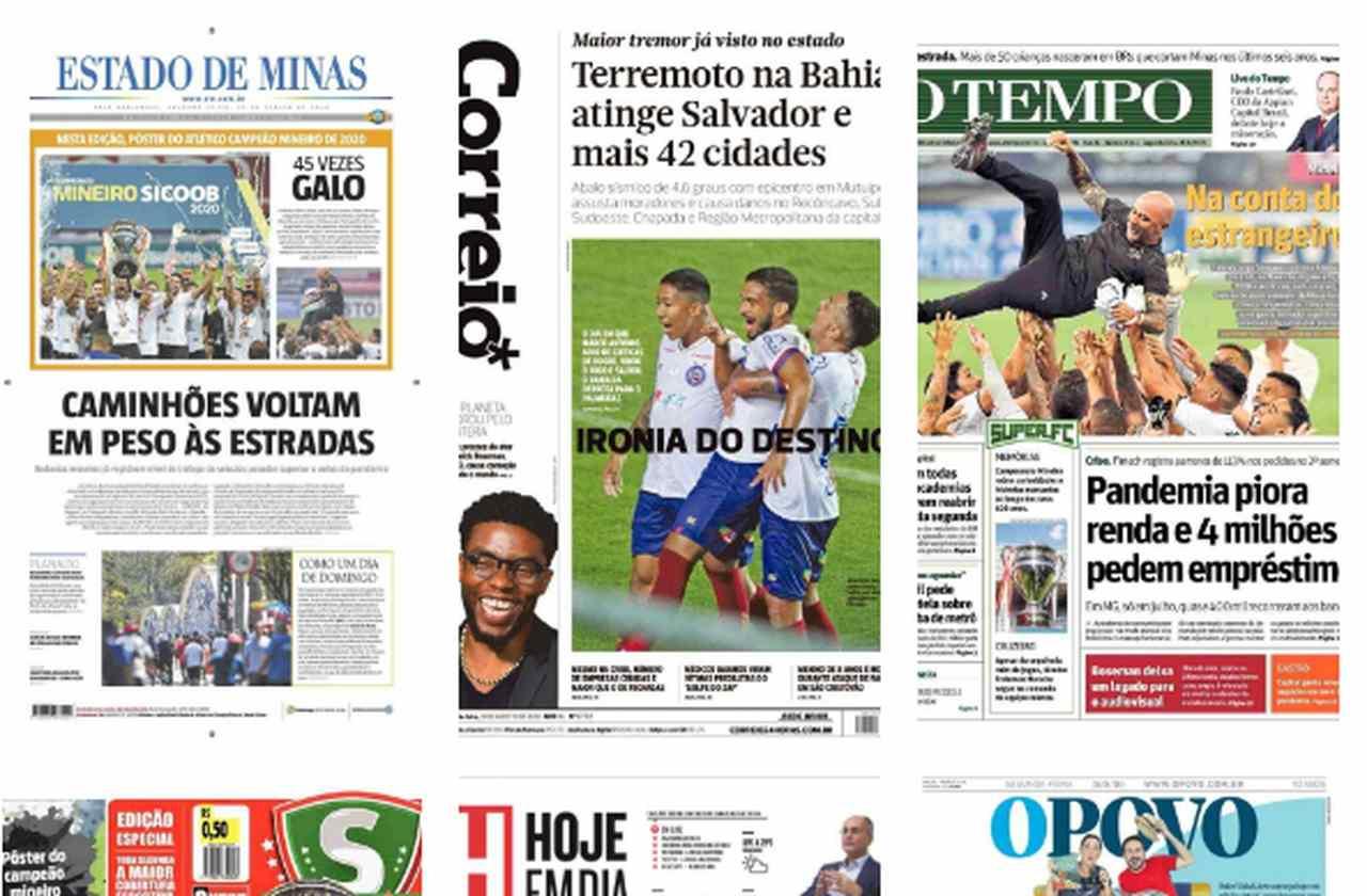 Capa dos jornais de hoje: campeões estaduais