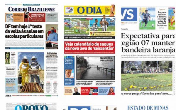 Capa dos jornais de hoje: 21 de setembro de 2020