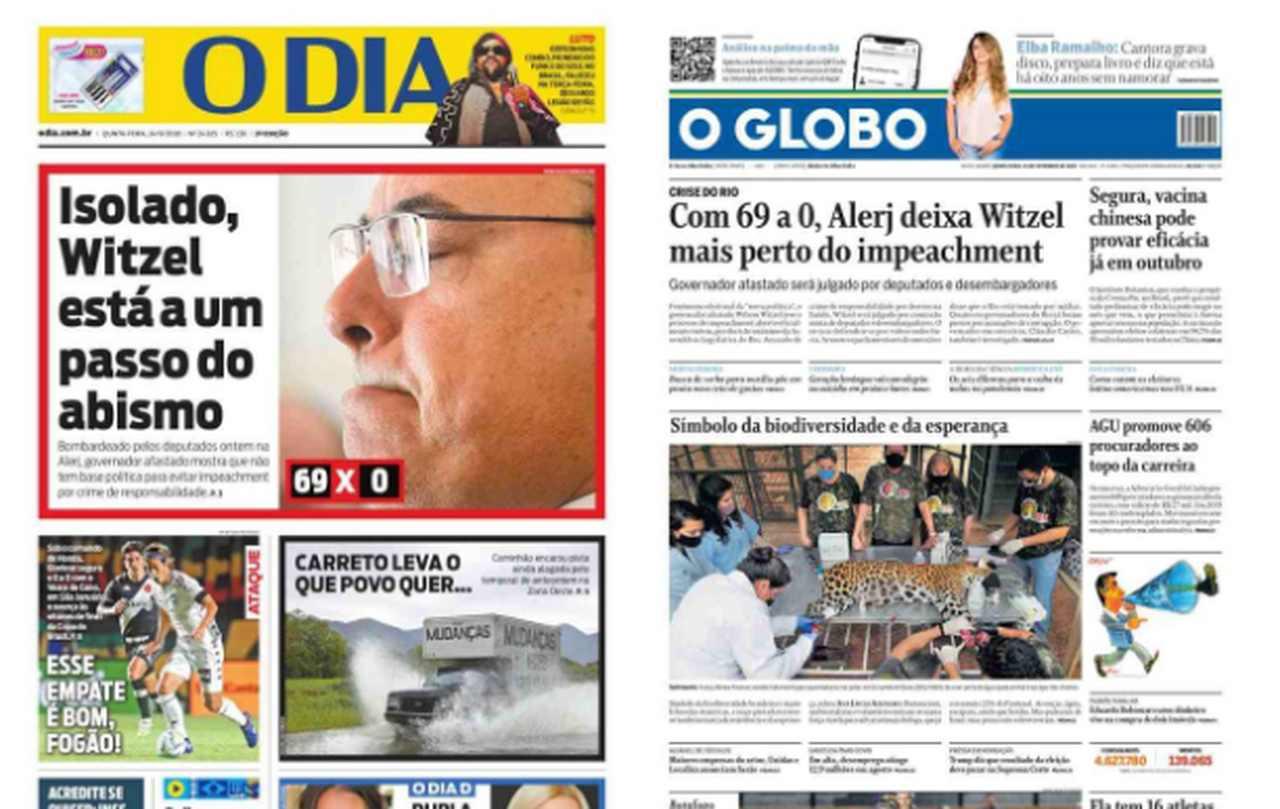 Capa dos jornais de hoje: 24 de setembro de 2020