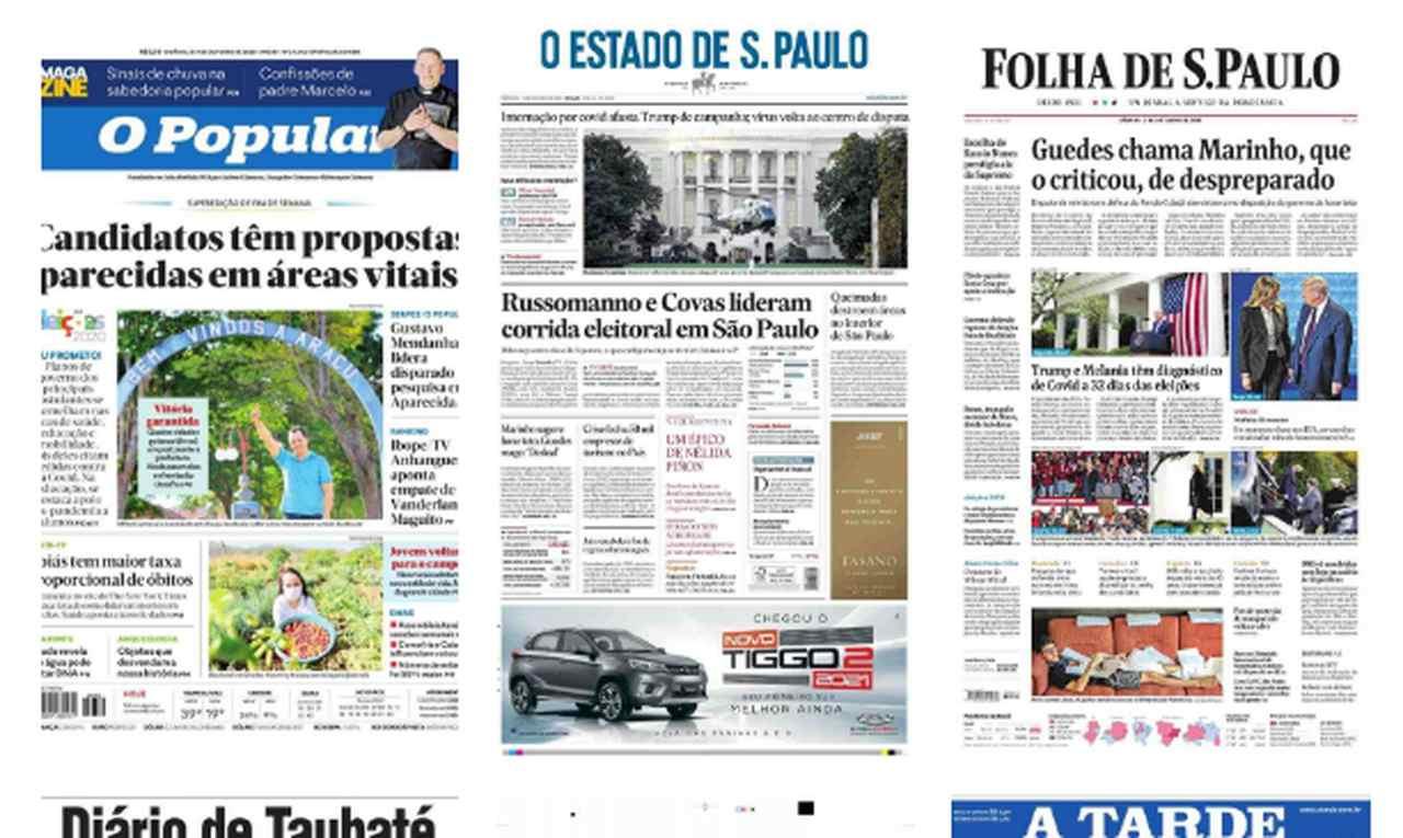 Capa dos jornais de hoje: 3 de outubro de 2020