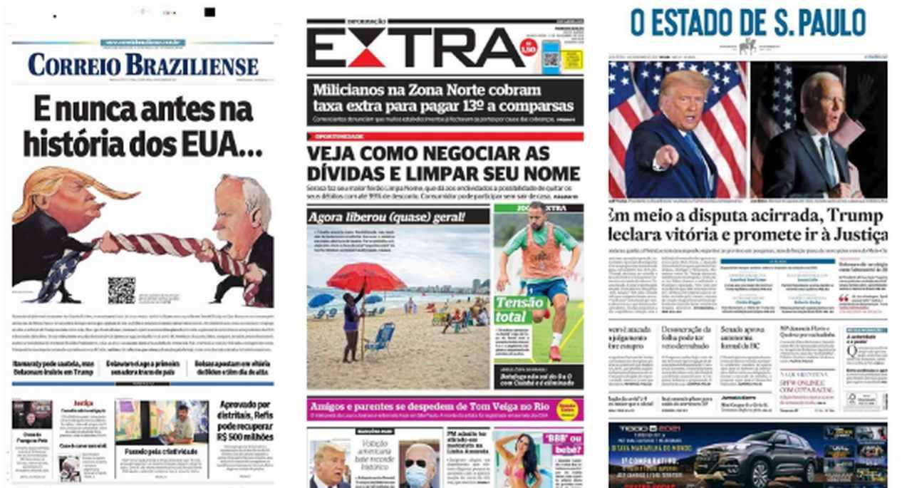 Capa dos jornais de hoje: urnas fechadas nos Estados Unidos